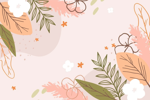 Drawn spring background with flowers Free Vector