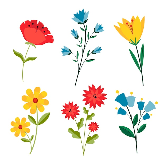 Confezione di fiori primaverili disegnati Vettore gratuito