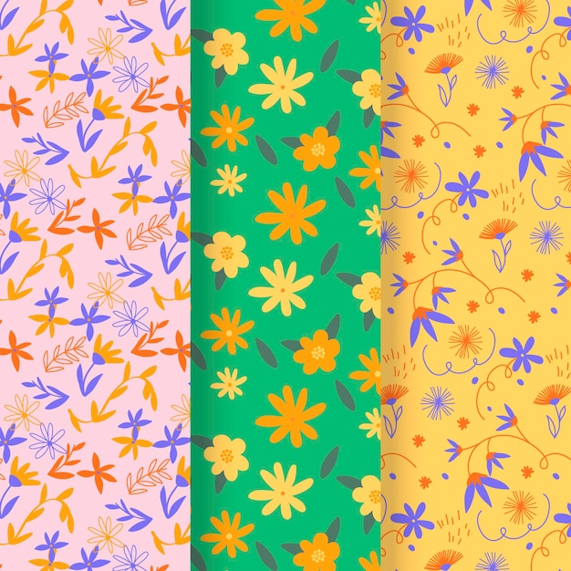 Drawn spring pattern collection Free Vector