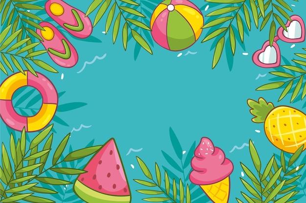 Concetto di sfondo estate disegnata Vettore gratuito