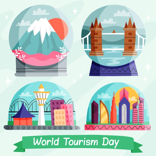 Drawn tourism day illustration Free Vector