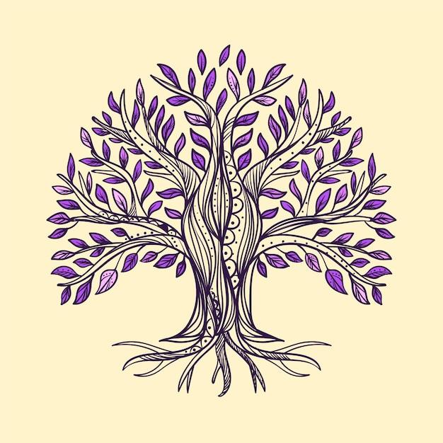 Drawn tree life Free Vector