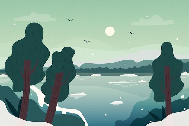 冬に描かれた木 無料ベクター