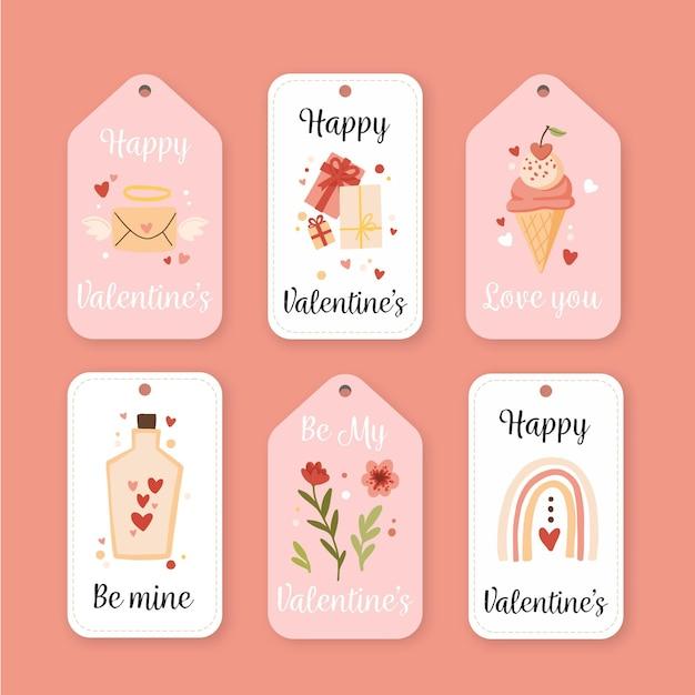Набор значков на день святого валентина Бесплатные векторы