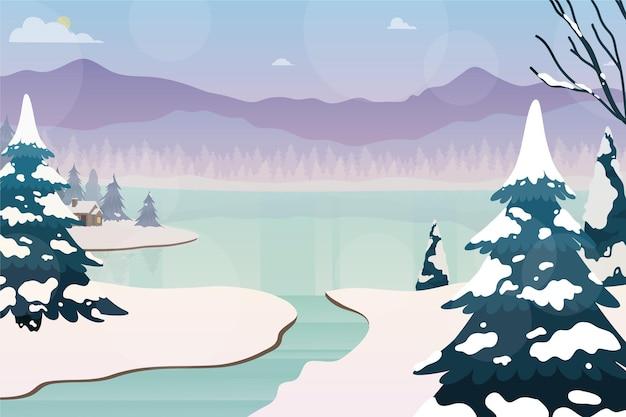 Sfondo paesaggio invernale disegnato Vettore gratuito