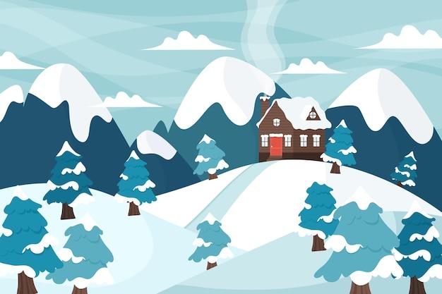 그려진 된 겨울 풍경 배경 무료 벡터