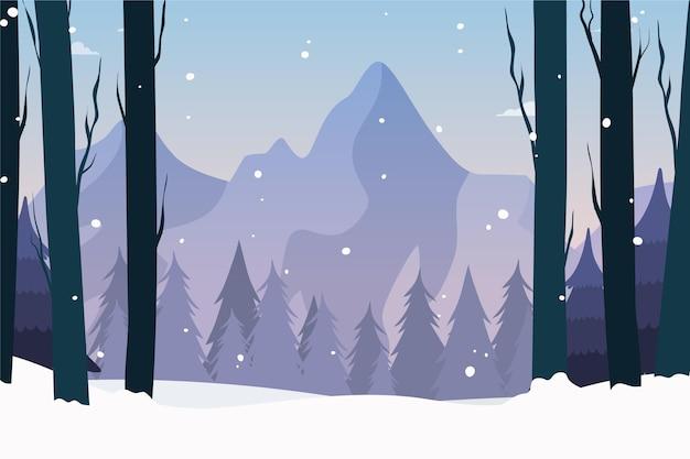 Drawn winter landscape wallpaper Free Vector