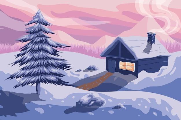 村と描かれた冬の風景 無料ベクター