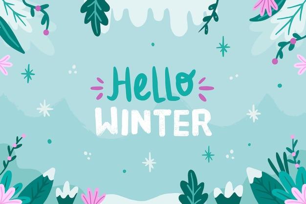 안녕하세요 겨울 텍스트로 그려진 겨울 벽지 프리미엄 벡터