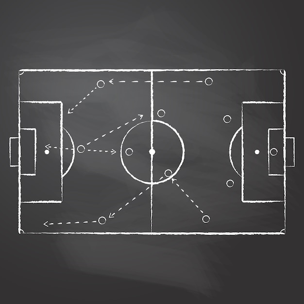 Drawn with chalk the football pitch markup and tactical scheme with one team players and strategy arrows on black rubbed chalkboard.   a soccer game tactical scheme Premium Vector