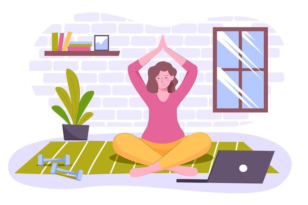 Donna disegnata meditando a casa Vettore gratuito