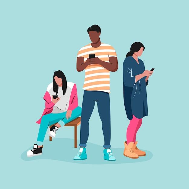 Disegnati giovani che utilizzano smartphone Vettore gratuito