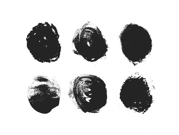 Набор абстрактных чернил на белом фоне. руки drawn гранж черный круг. высококачественная заготовка. Premium векторы
