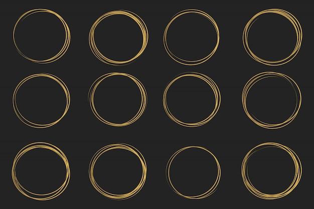 Эскиз линии круга drawning руки, каракули каракули. Premium векторы