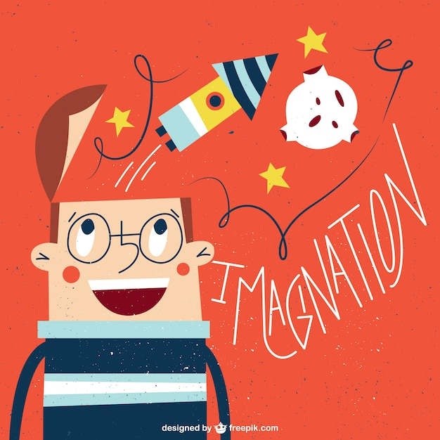 Dream about being an astronaut illustration Free Vector
