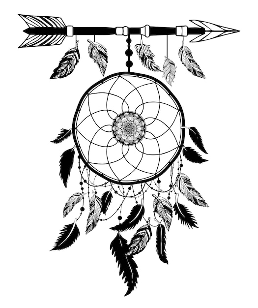 Dream catcher with arrow and feathers hand drawn vector. Premium Vector