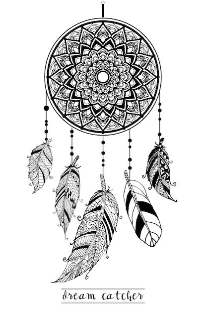 Premium Vector Dream Catcher With Arrows And Feathers Hand Drawn Style Vector