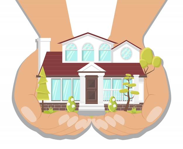 Dream house, fancy villa   illustration Premium Vector
