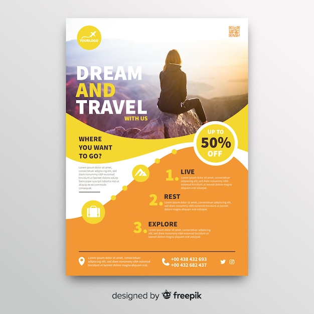 Dream and travel flyer template with photo Free Vector