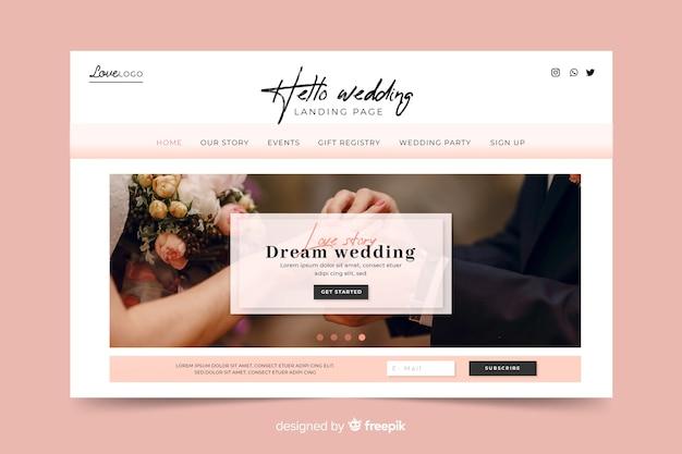 Dream wedding landing page Free Vector
