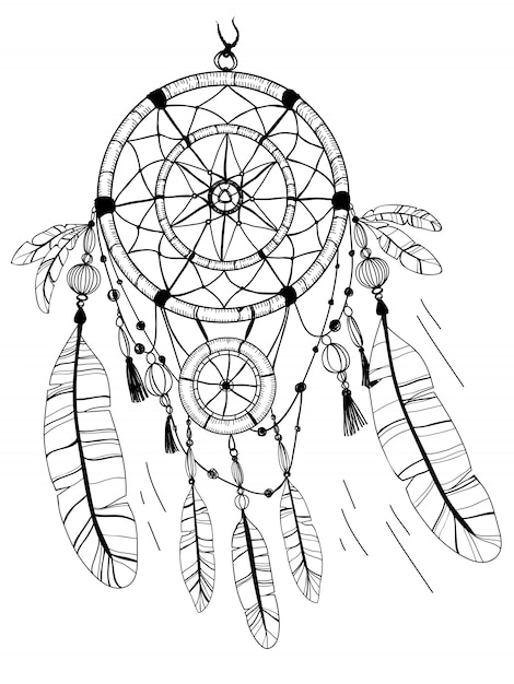 Dreamcatcher, feathers and beads. coloring page drawing ...