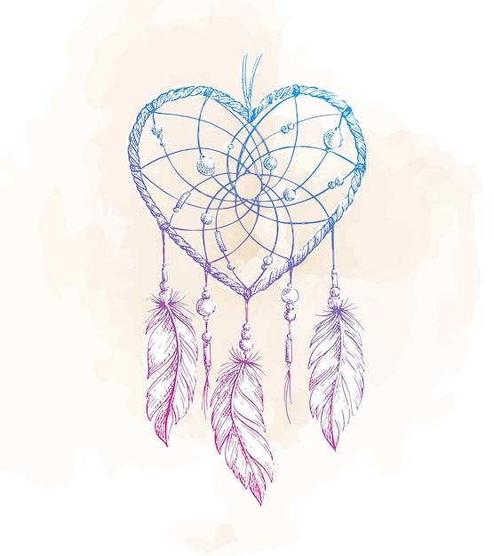 Dreamcatcher heart illustration Premium Vector