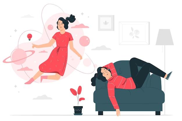 Illustrazione del concetto di sognatore Vettore gratuito