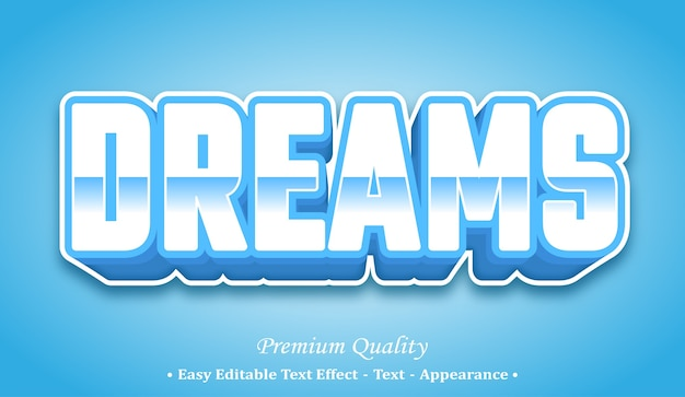 Dreams 3d editable text style effect Premium Vector