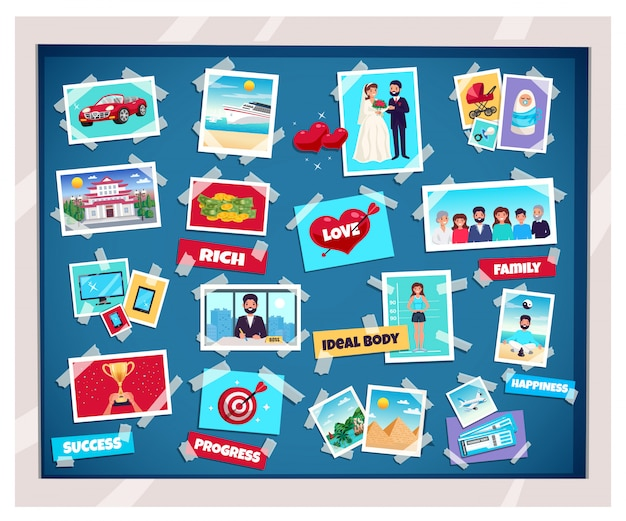 Dreams vision board with success and family, flat isolated vector illustration Free Vector