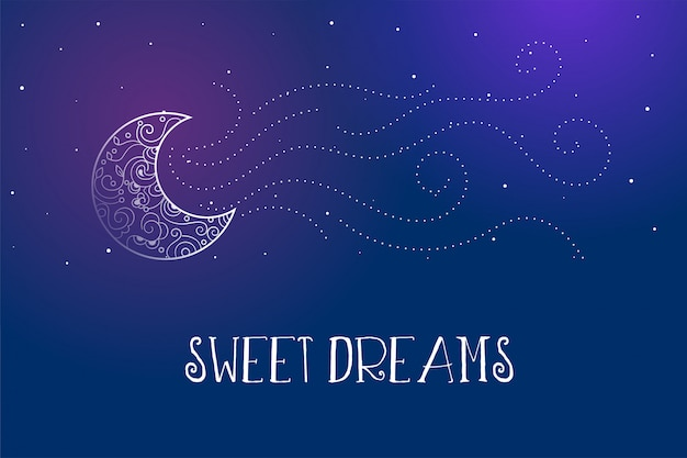 Dreamy magical sweet dreams card with decorative moon Free Vector