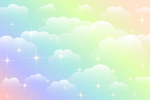 Dreamy rainbow color beautiful clouds background Free Vector