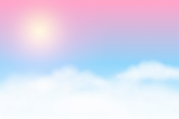 Dreamy soft clouds background with glowing sun Free Vector