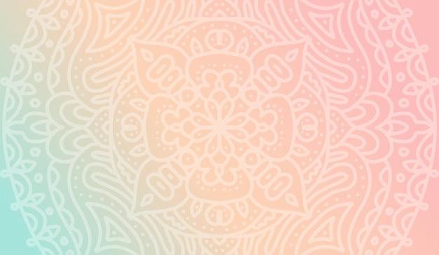 Dreamy tender gradient wallpaper with mandala pattern for yoga school Premium Vector