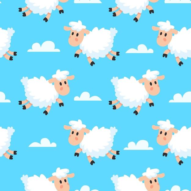Dreamy woolly fun clouds baa lamb or sheep cartoon seamless fabric pattern Premium Vector