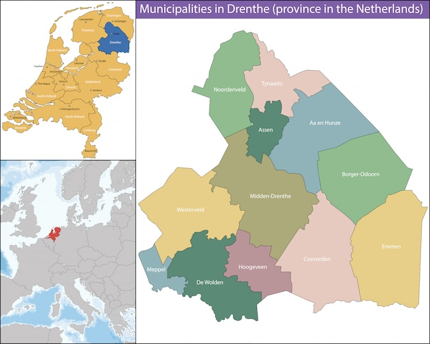 Drenthe is a province of the netherlands Premium Vector