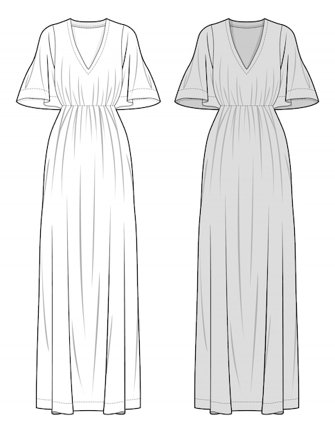 Dress Fashion Flat Sketch Template Premium Vector
