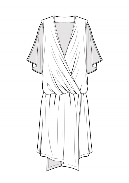 Dress fashion technical drawings vector template Premium Vector