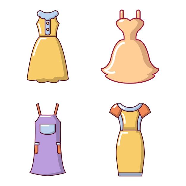 Dress icon set. cartoon set of dress vector icons set isolated Premium Vector