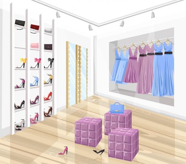 Dress and shoe store boutique flat style illustration Premium Vector