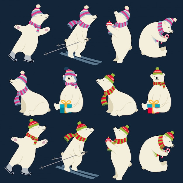 Dressed polar bears collection for christmas designs Premium Vector