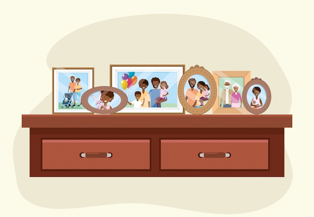 Dresser with family pictures memories decoration Free Vector
