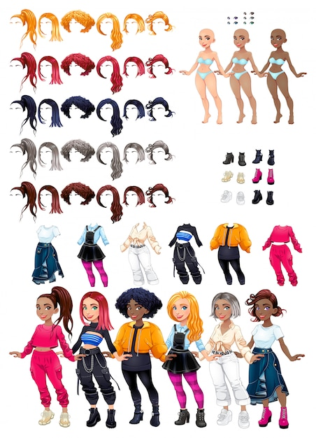 Dresses and hairstyles. costumize character. female avatar. Free Vector