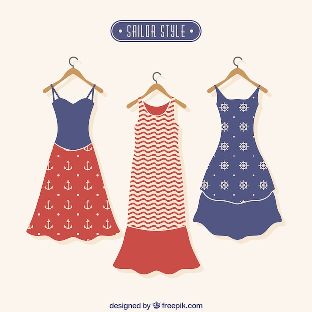 Dresses in sailor style Free Vector