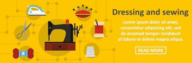 Dressing and sewing banner horizontal concept Premium Vector