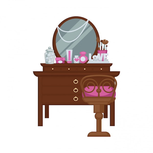 Dressing table with woman accessories and chair vector illustration Premium Vector
