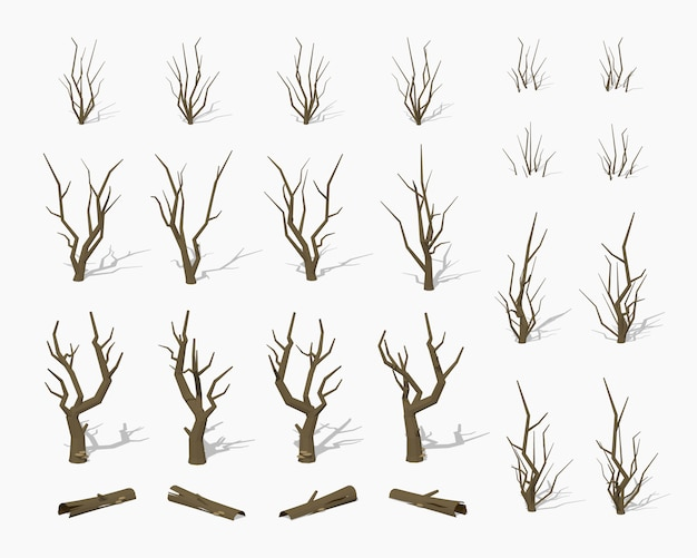 Dried dead 3d lowpoly isometric trees Premium Vector