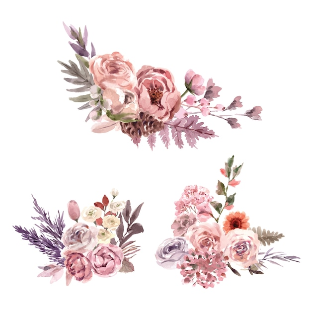 Dried floral bouquet watercolor illustration with snapdragon, rose, rowan Free Vector