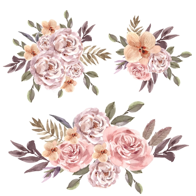 Dried floral bouquet watercolor illustration Free Vector