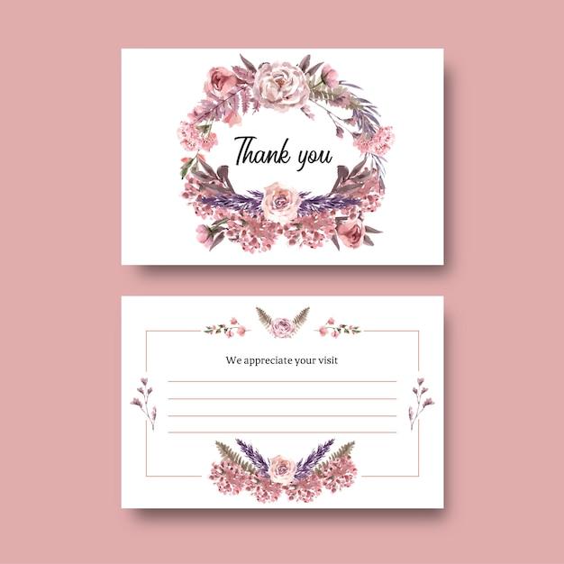 乾燥した花のポストカード水彩イラスト。 無料ベクター