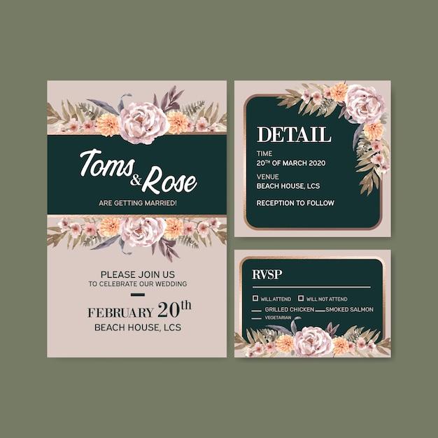 Сушеные цветочные свадебные карточки шаблон акварельные иллюстрации Бесплатные векторы